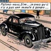 Tintin in a 1939 Packard Super Eight Club Coupe
